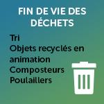 Fin de vie des déchets : Tri, Objets recyclés en animation, Composteurs, Poulaillers