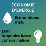 Economies d'énergie : économiseurs d'eau, leds/ampoules basse consommation